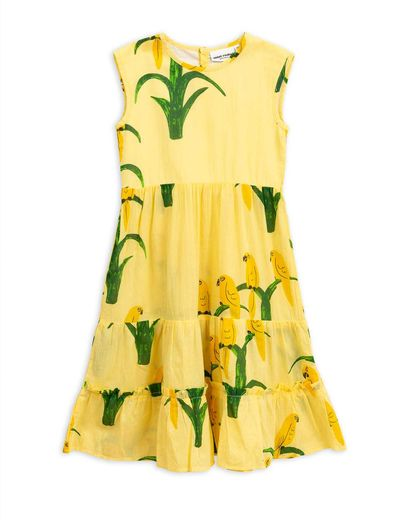 Mini Rodini - Parrot woven dress, Yellow