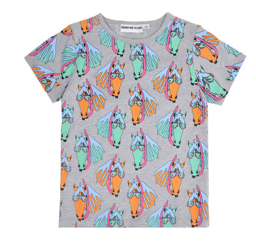 Gardner and the gang - Pete the pony tee, grey