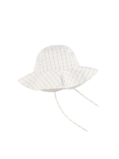 Tinycottons - Grid wv sun hat, cerulean blue/stone