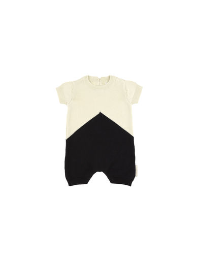 Tinycottons - Color block knit baby onepiece, navy/stone