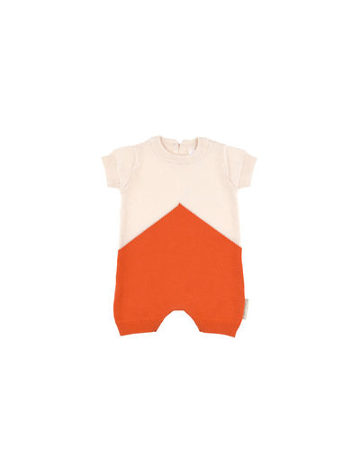 Tinycottons - Color block knit baby onepiece, carmine/light pink