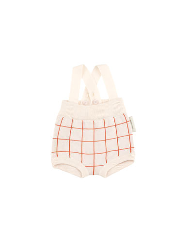 Tinycottons - Grid baby bloomer, light pink/carmine