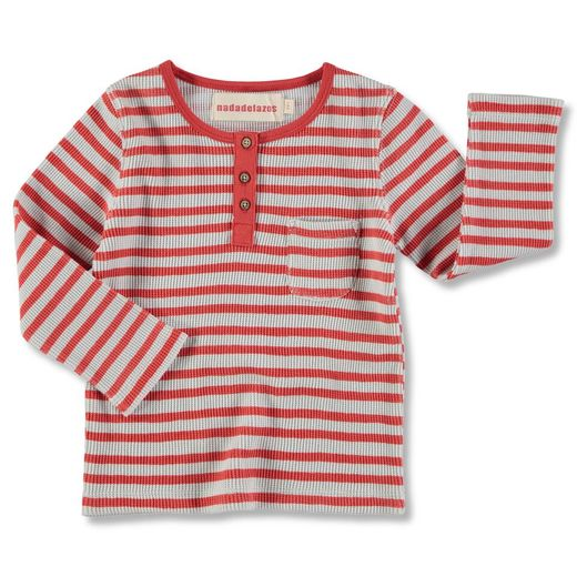 Nadadelazos - Buttoned tee, red stripes